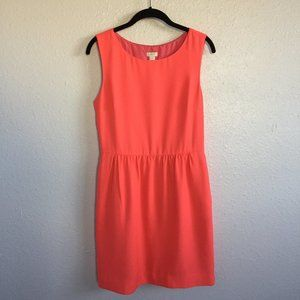 J CREW Sleeveless Bright Coral Ruched Dress 6